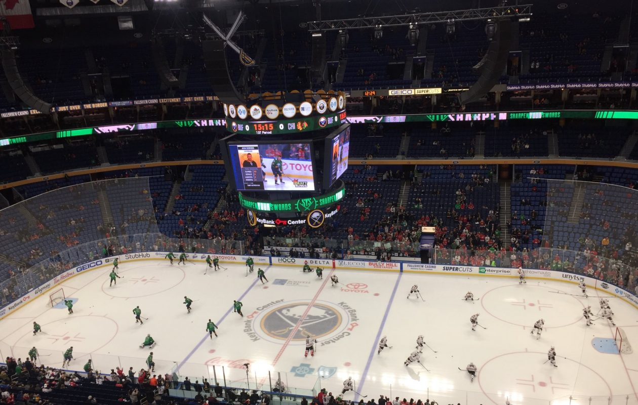 The Sabres are wearing the green as they join the visiting Chicago Blackhawks in getting warm at KeyBank Center on Saturday - St. Patrick's Day. (Mike Harrington/Buffalo News)