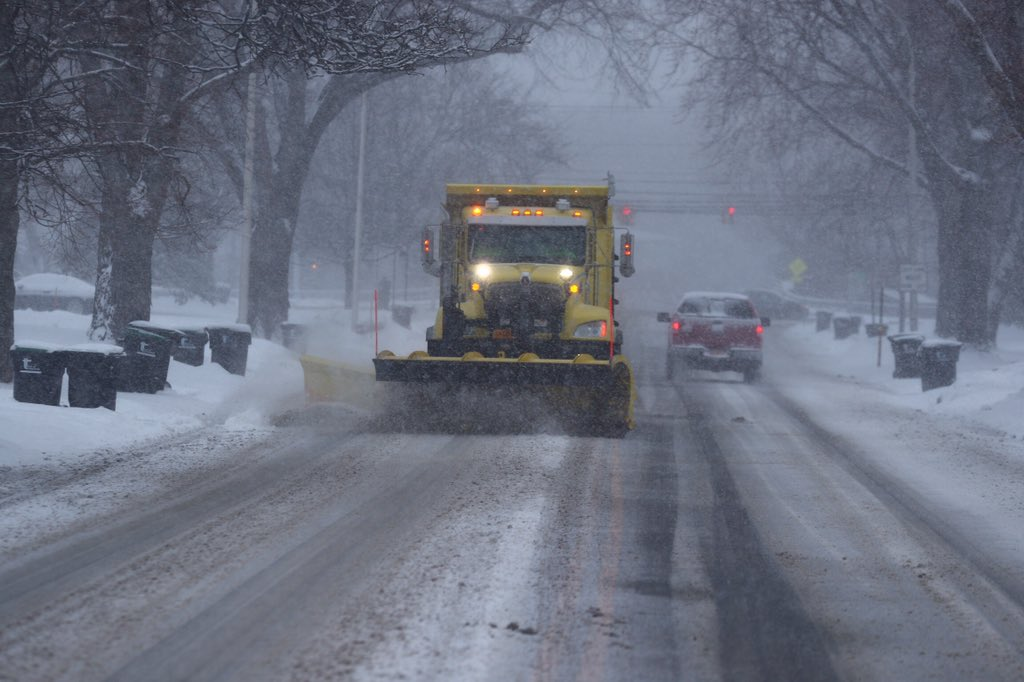 Town of Tonawanda plows clear and salt streets on Wednesday March 14, 2018 as snow continues to fall. (John Hickey/Buffalo News)
