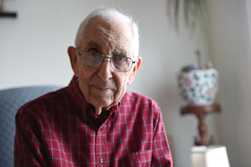Despite being the family's sole breadwinner and having three brothers already serving in World War II, Joseph R. Burgio was drafted into the Navy. (Sharon Cantillon/Buffalo News)