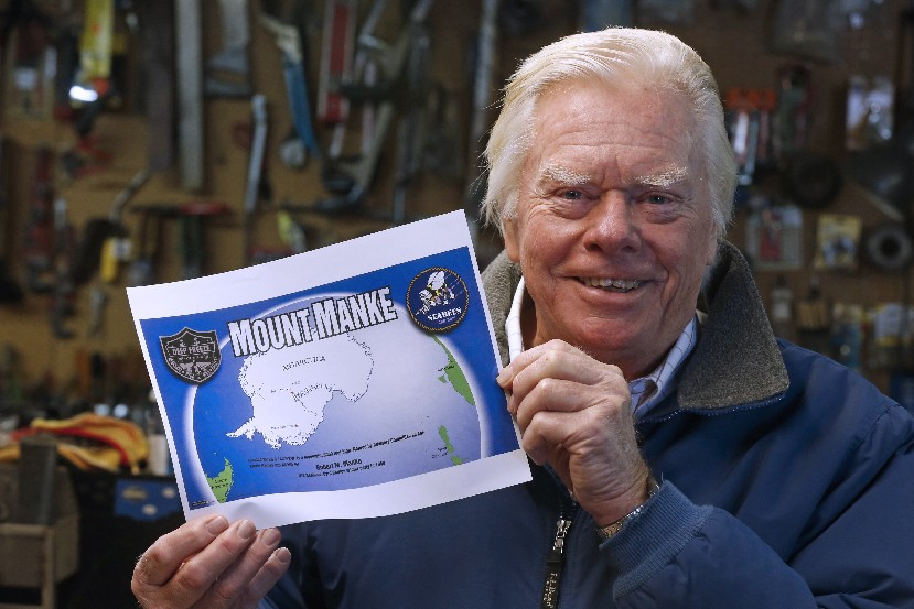 As a reward for serving 13 months in Antarctica, where the temperature got down to 78 degrees below zero, Navy Seabee Bob M. Manke had a mountain named after him. (Robert Kirkham/Buffalo News)