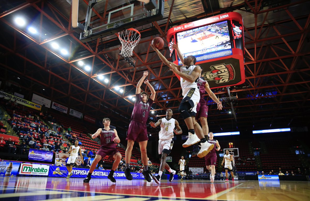 Willard Anderson soars to the basket for two of his game-high 26 points during East's 78-48 triumph over X-Harrisville at Floyd L. Maines Arena in Binghamton on Friday morning. (Harry Scull Jr./Buffalo News)