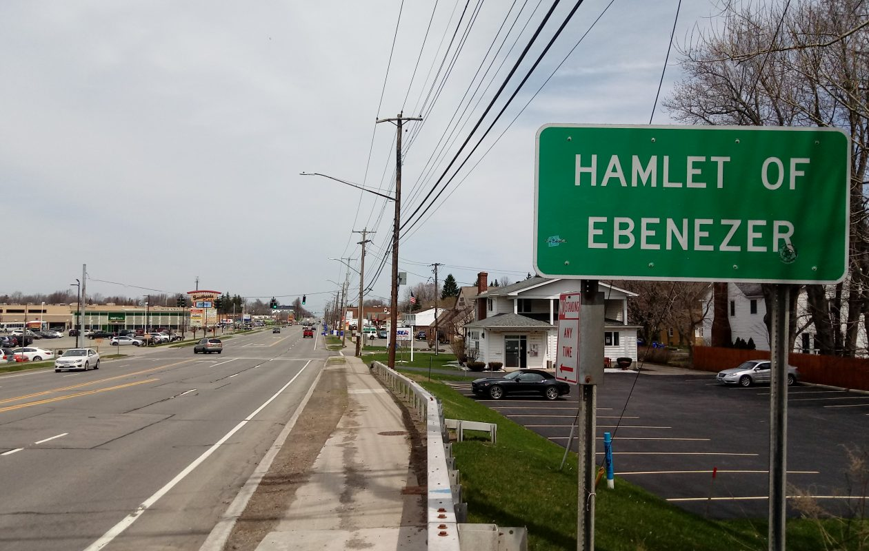A sign welcomes visitors to the hamlet of Ebenezer on Union Road in West Seneca. (Luke Hammill/Special to The News)