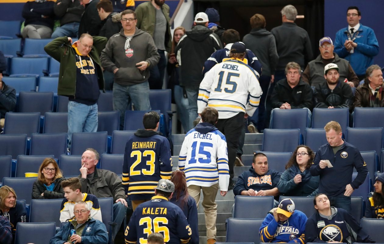 Before the fans turned their backs on the Sabres, the Sabres turned their backs on the fans with unacceptable efforts. (Harry Scull Jr./Buffalo News)