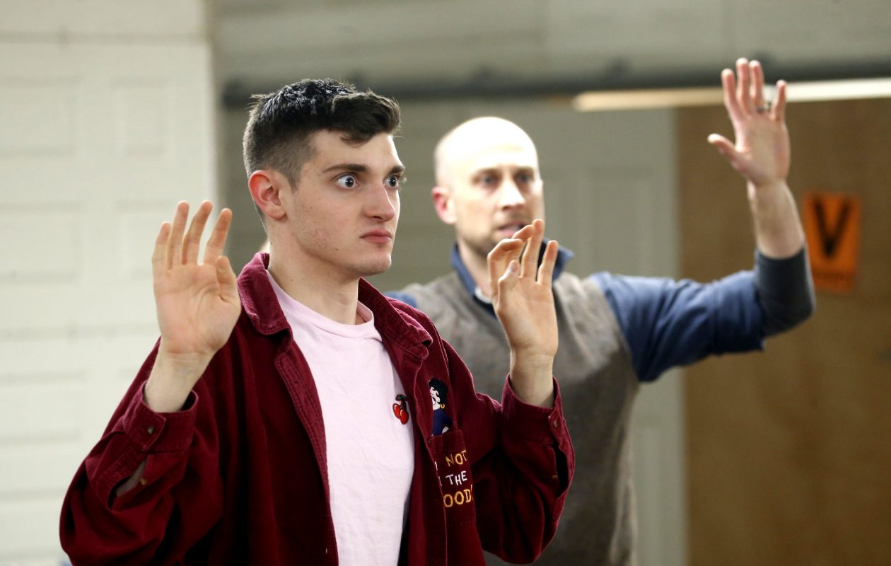 Actors Michael Donovan II, left, and Brian Bernys rehearse for a production of 'LIT401: A School Shooting in One Act.'  (Robert Kirkham/Buffalo News)