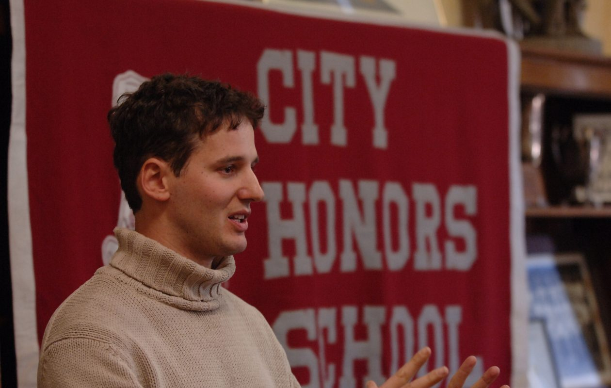 Author Jake Halpern talks about his experiences to students at his alma mater City Honors High School in 2007. (News file photo)