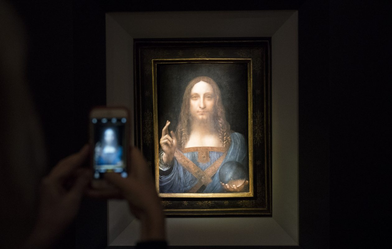 'Salvator Mundi,' a painting attributed to Leonardo da Vinci, sold at auction in 2017 for $450 million. (Drew Angerer/Getty Images)