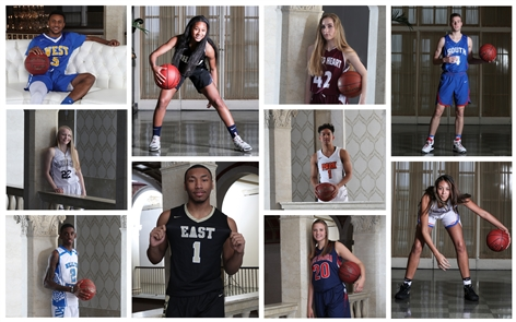 The members of the 2018 All-Western New York basketball first teams, featuring photographs taken by James P. McCoy at Statler City in the historic Statler building downtown. The annual All-Western New York issue is published Saturday.
