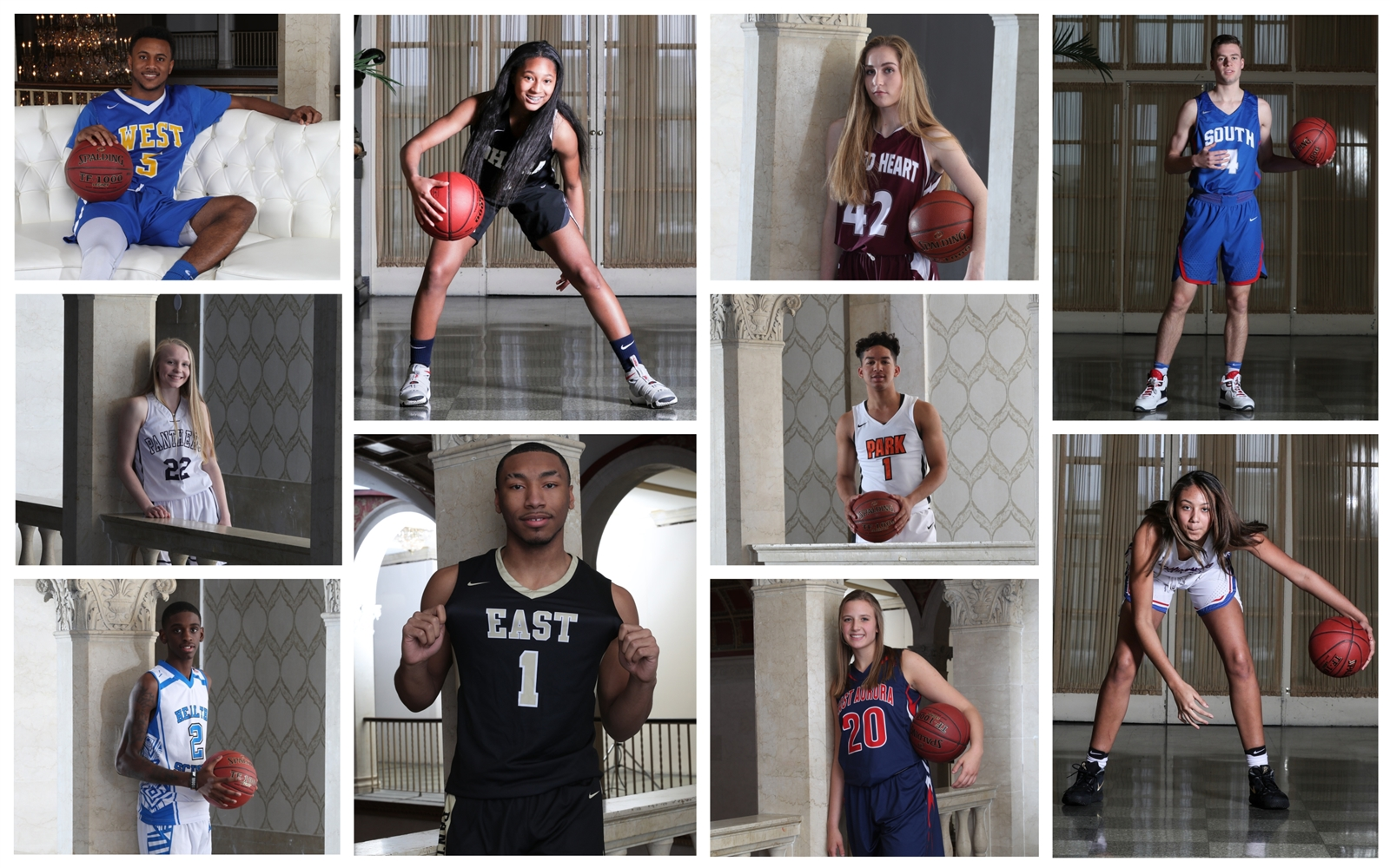 The members of the 2018 All-Western New York basketball teams, featuring first-team photographs taken by James P. McCoy at Statler City in the historic Statler building downtown.