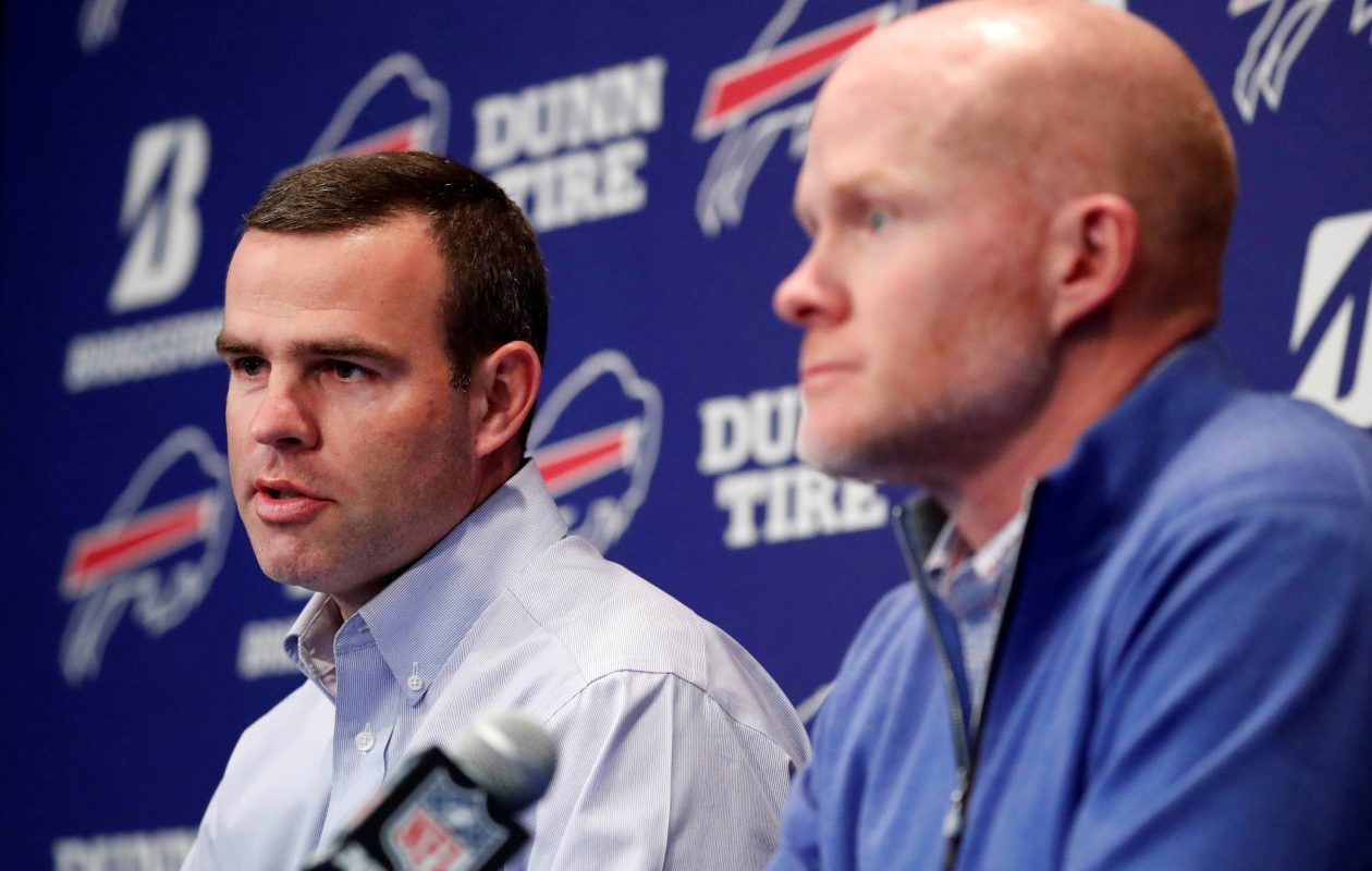 Buffalo Bills head coach Sean McDermott and General Manager Brandon Beane speak to the media during the year-ending press conference at New Era Field in Orchard Park on Jan. 9, 2018.   (Mark Mulville/Buffalo News)