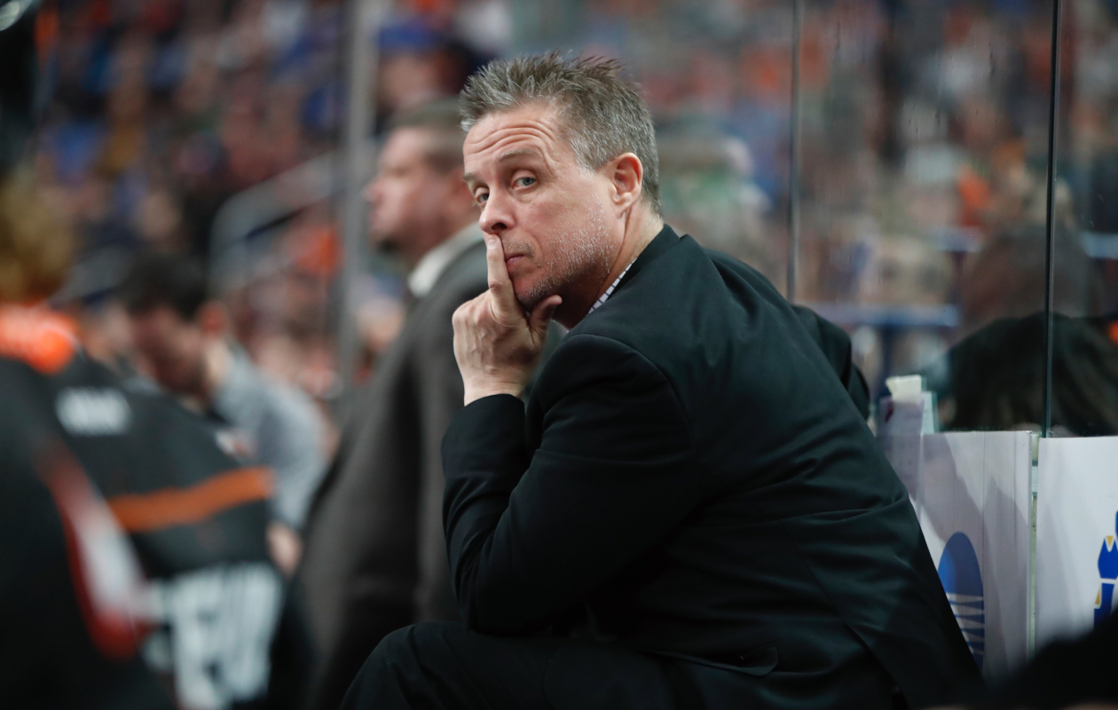 Buffalo Bandits head coach Troy Cordingley sits on the bench during Buffalo's 15-13 loss to the Rochester Knighthawks on Saturday. (Harry Scull Jr. / Buffalo News)