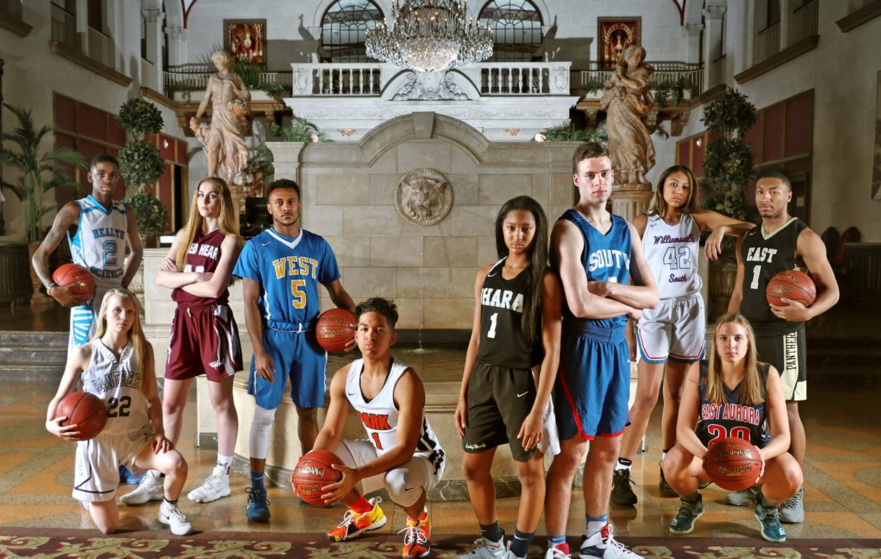 The cover of Saturday's 2018 All-Western New York basketball issue, which was shot at Statler City. (James P. McCoy/Buffalo News)
