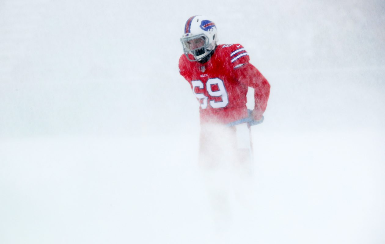 Reid Ferguson warming up before the game against the Colts (Brett Carlsen/Getty Images)