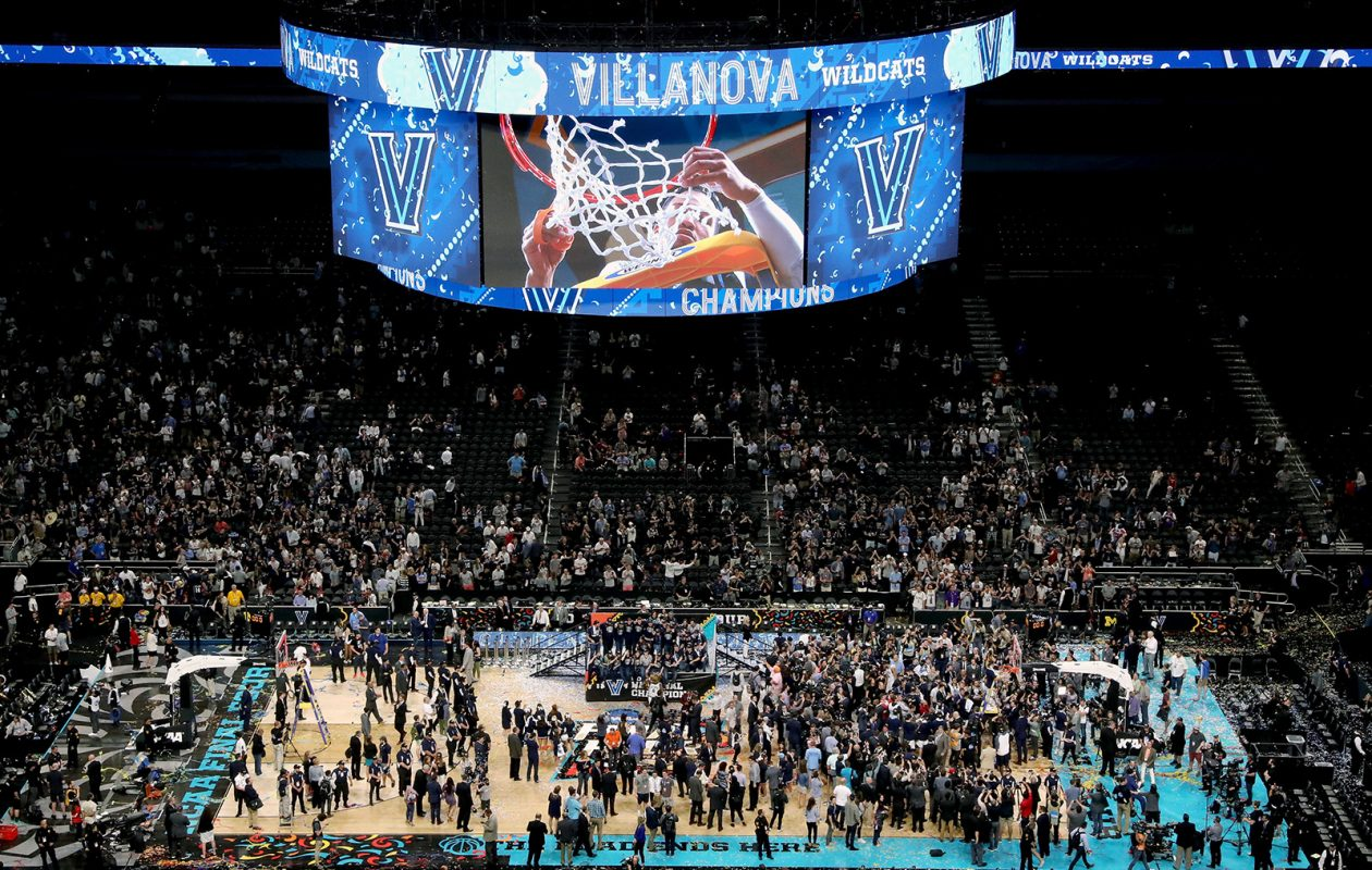 The Villanova Wildcats celebrate after defeating the Michigan Wolverines in the NCAA championship game April 2 in San Antonio. (Tom Pennington/Getty Images)