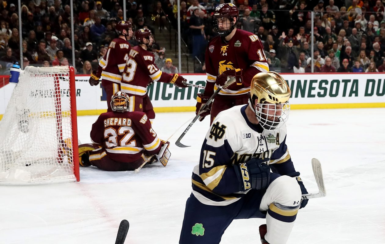 Andrew Oglevie, signed by the Sabres on Wednesday, scored Notre Dame's only goal in the NCAA national title game. (Getty Images)