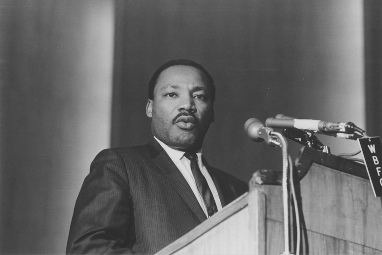 The Rev. Martin Luther King Jr. speaks at Kleinhans Music Hall in Buffalo on Nov. 9, 1967. King was assassinated 50 years ago on April 4, 1968. (Photo courtesy of George K. Arthur)