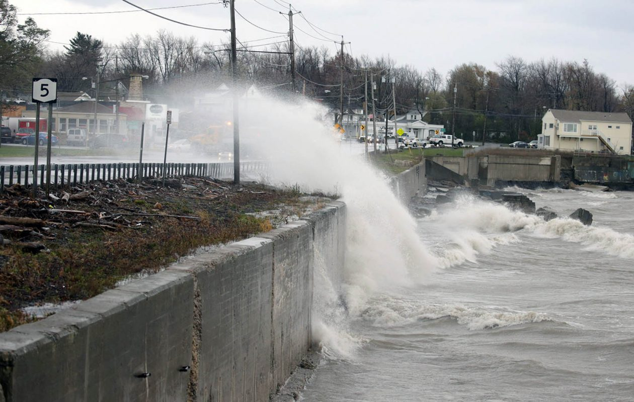 Waves driven by high winds break over the breakwall at Route 5 in Hamburg. (John Hickey/News file photo)