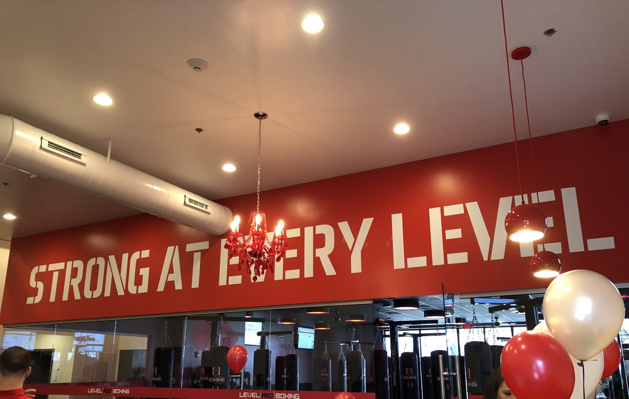 Level Red Boxing's mantra to its members, as viewed at the ribbon-cutting for the gym's new location in the Lymstone Lofts building in Amherst on Friday, April 13, 2018. (Photo courtesy the Amherst Chamber of Commerce)