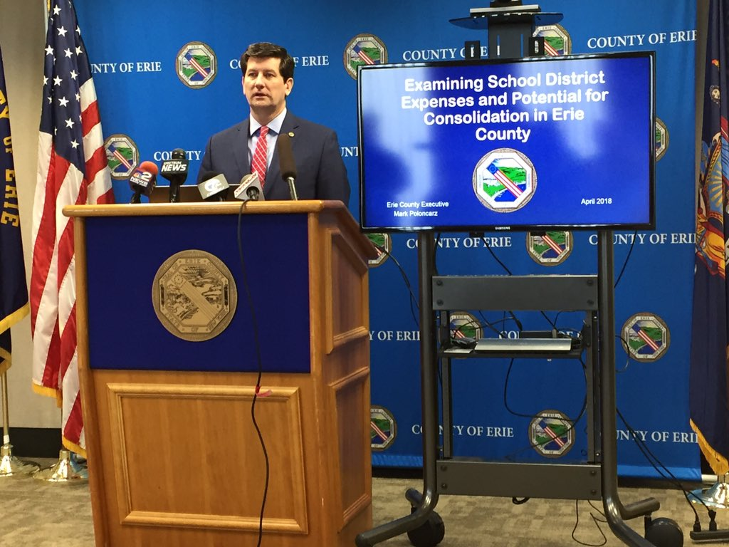County Executive Mark C. Poloncarz talks about his report on school spending. (Barbara O'Brien/Buffalo News)