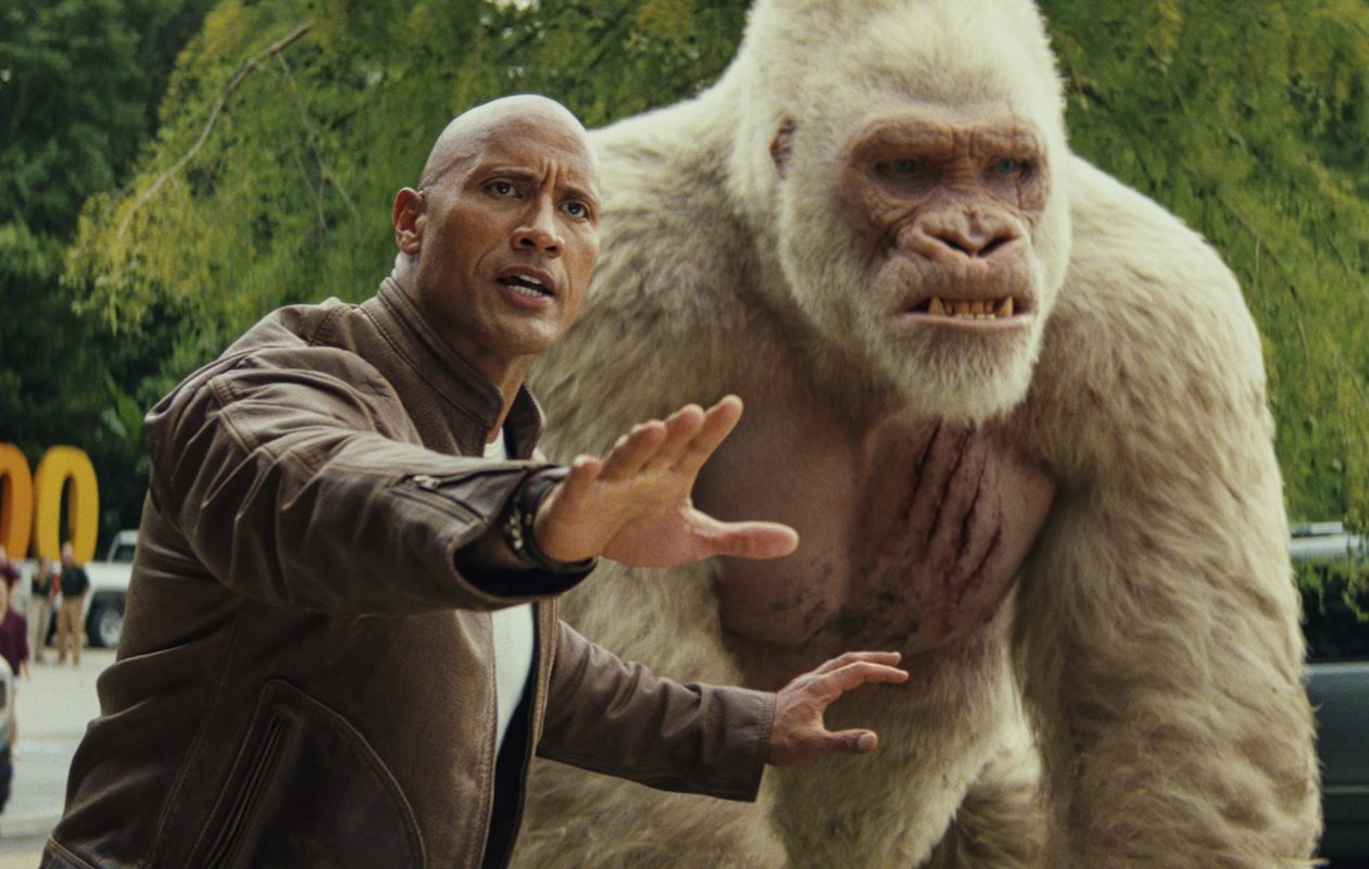 Dwayne Johnson and friend star in the new film 'Rampage.' (Warner Bros. Pictures)