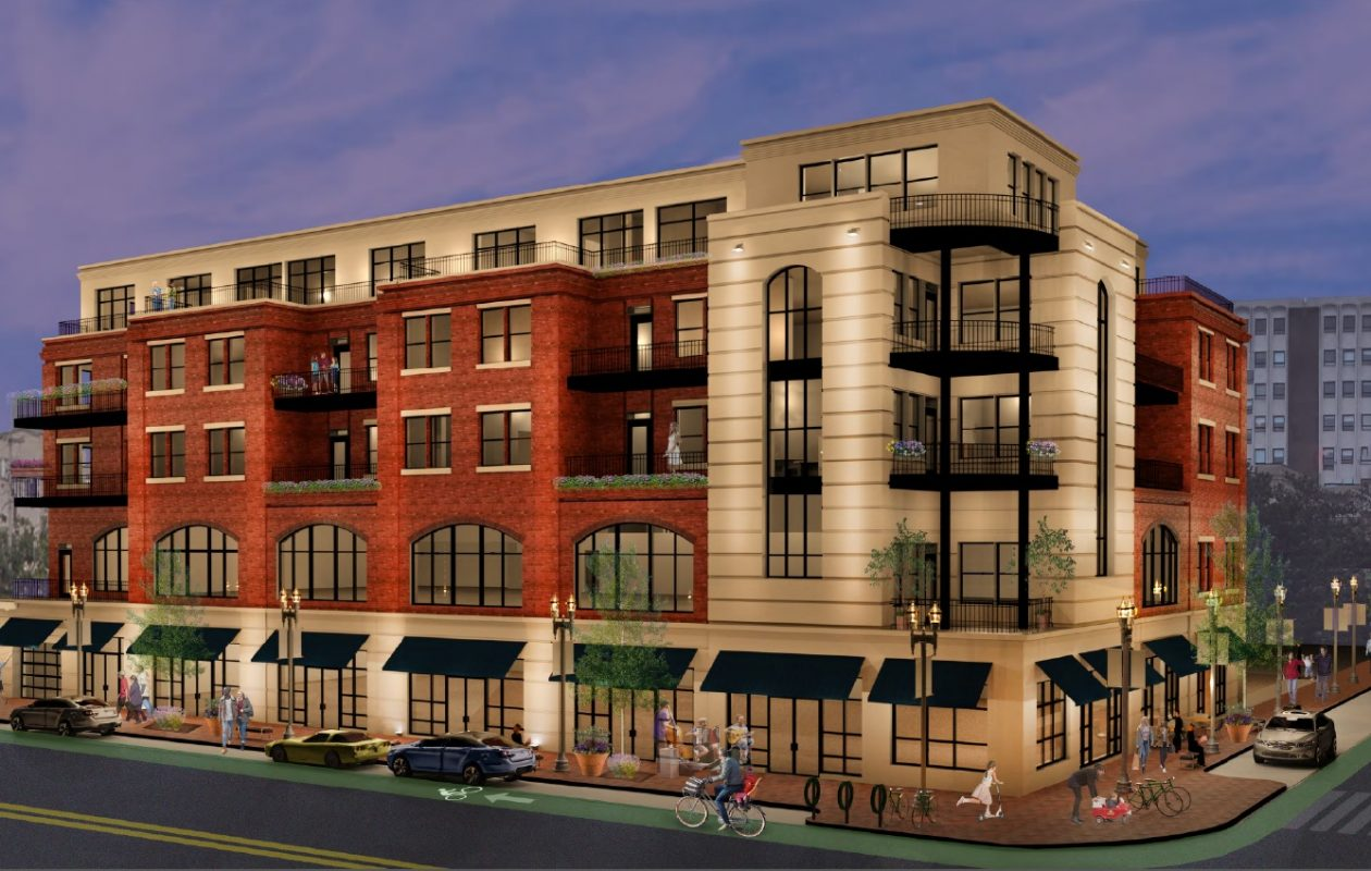 Sinatra & Company Real Estate and Ellicott Development Co. revised their proposal for Elmwood Avenue and Bryant Street, reducing the height of this building to five stories.