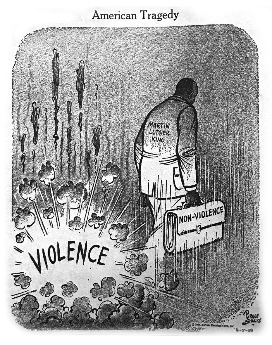 The Bruce Shanks cartoon that ran in The Buffalo Evening News on April 6, 1968.