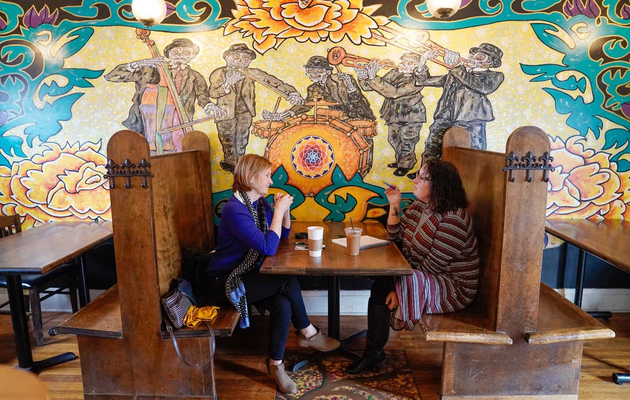 Formerly a funeral home, Undergrounds Coffee House and Roastery features a Day of the Dead concept. (Dave Jarosz)