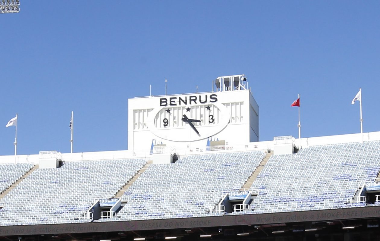 The Buffalo Bills say they are owed nearly $1 million from the sponsor whose name was on two large clocks at New Era Field. (Harry Scull Jr./News file photo)