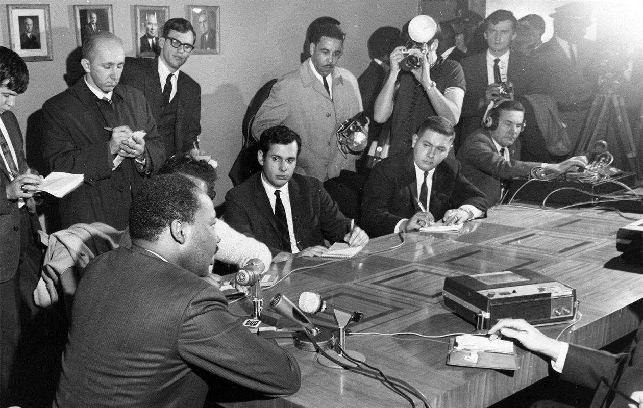 Dr. Martin Luther King Jr. speaks to the media in Kleinhans Music Hall on a visit to Buffalo in 1967. (Robert Smith/Photo courtesy of the Buffalo History Museum)
