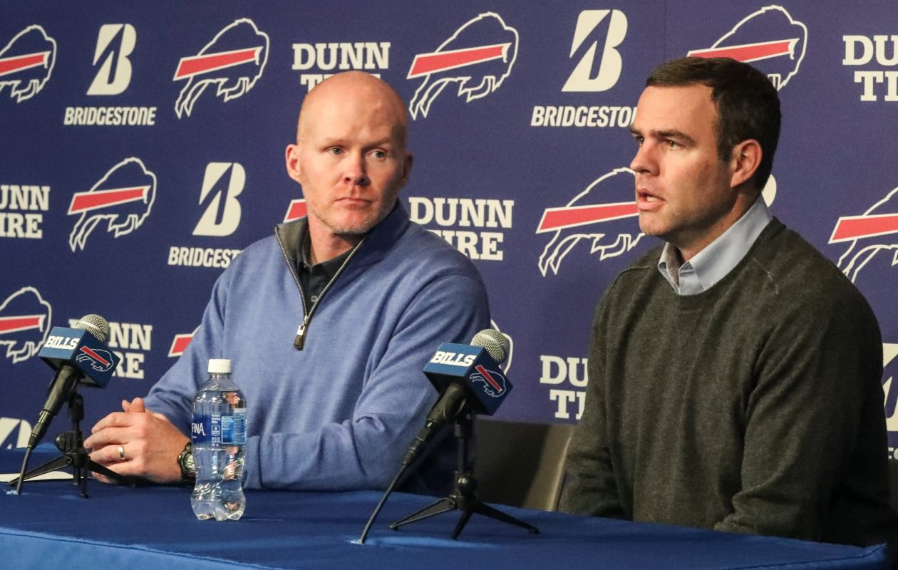 Buffalo Bills head coach Sean McDermott and General Manager Brandon Beane address the media about the upcoming draft on April 16, 2018. (James P. McCoy/Buffalo News)