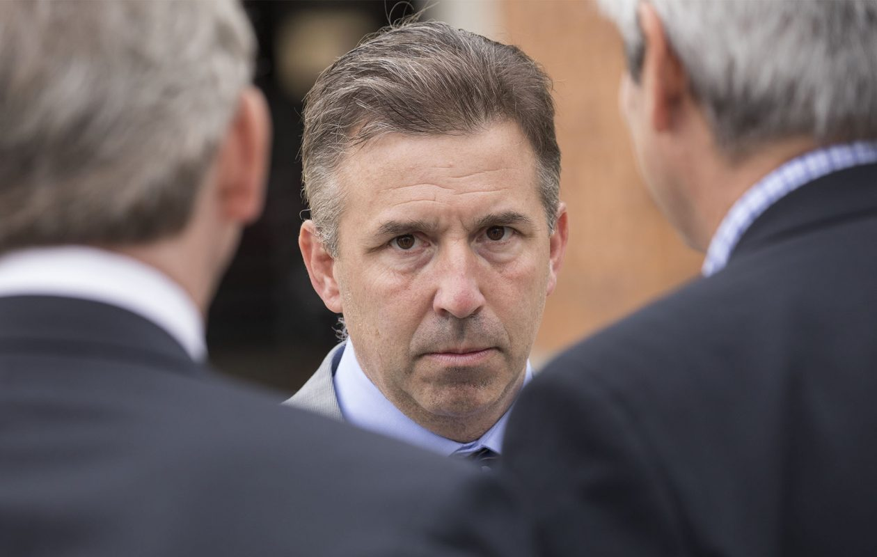 Russ Brandon mingles with officials following a press conference to announce that Pegula Sports Entertainment has purchased the former Hi-Temp Fabrication building and will develop the new Labatt USA headquarters which will include a pilot brewery, Wednesday, April 26, 2017.  (Derek Gee/Buffalo News)