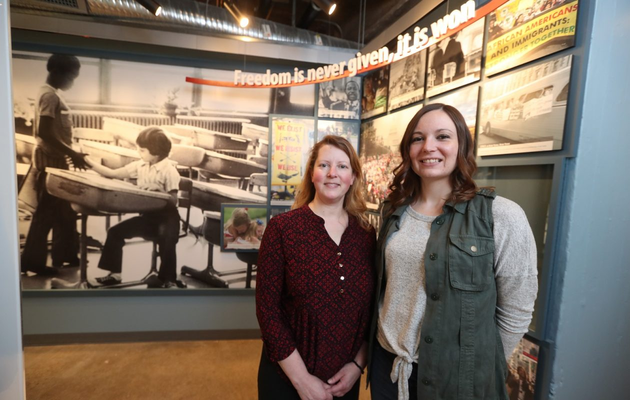 From left, Niagara Falls Underground Railroad Heritage Center's Christine Bacon, the program interpretation specialist, with Ally Spongr, director and curator.  (John Hickey/Buffalo News)