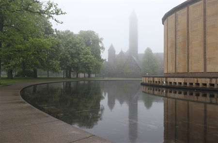 On Tuesday, May 22, 2018, a thick, gloomy fog blanketed Western New York. Rain and temperatures in the low 60s made for a moody Tuesday in Buffalo.