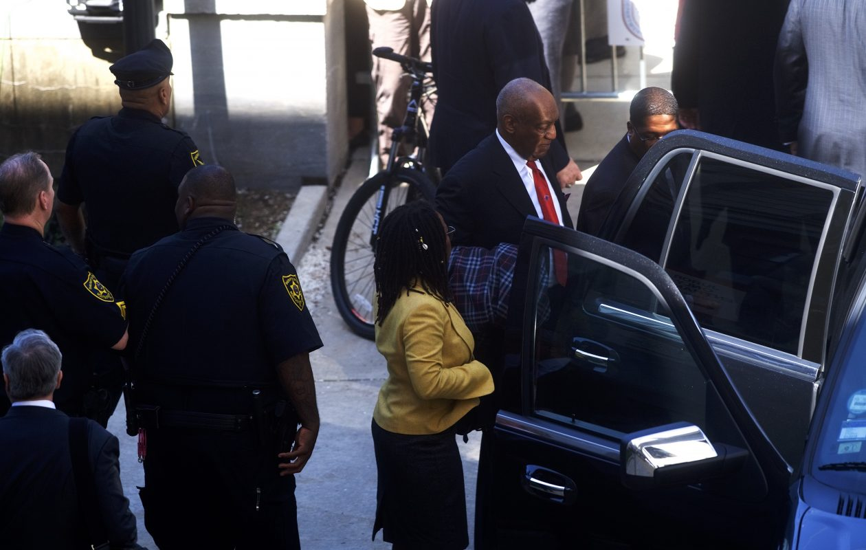Bill Cosby departs the Montgomery County Courthouse in Norristown, Pa.,  after being found guilty on all counts in his sexual assault retrial at  on April 26. (Getty Images)
