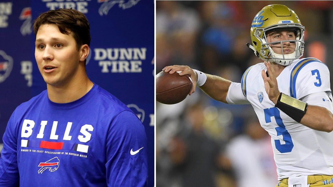 ESPN confused the Bills' Josh Allen, left, with Arizona's Josh Rosen, right.  (Harry Scull Jr./News file photo; Getty Images)