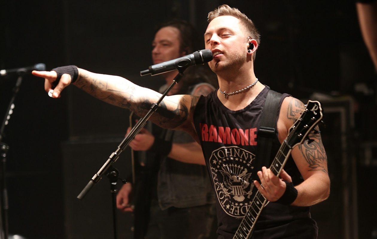 Matthew Tuck, lead singer for the band Bullet for My Valentine, performs in Town Ballroom in 2013. BFMV returns to the area for a May 8 show in Rapids Theatre. (News file photo)