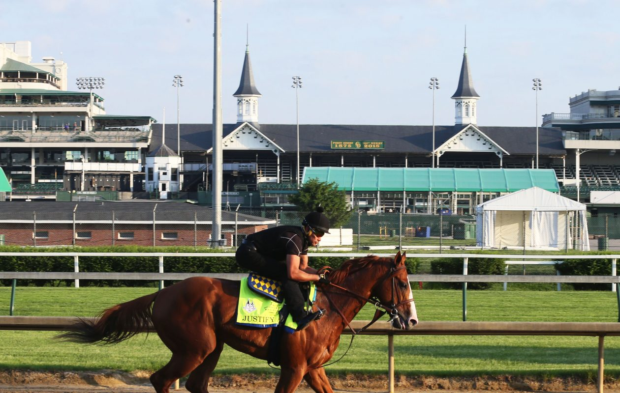 Justify works for the Preakness at Churchill Downs on May 13 Photo Credit: Churchill Downs/Coady Photography