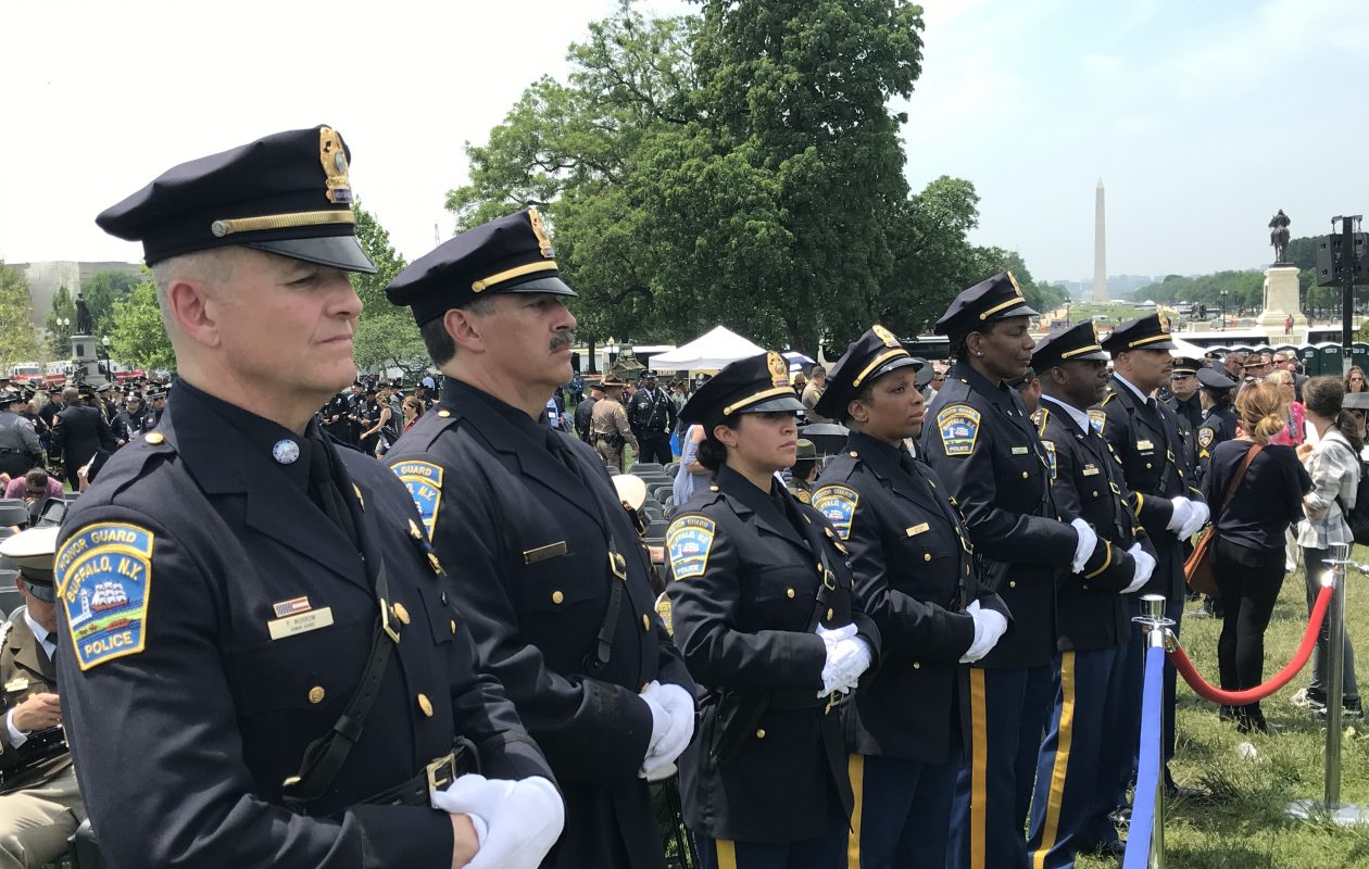 Buffalo police officers line up in tribute to the late Officer Craig E. Lehner at Tuesday's National Peace Officers' Memorial Service on the West Front of the U.S. Capitol. (Jerry Zremski/Buffalo News)