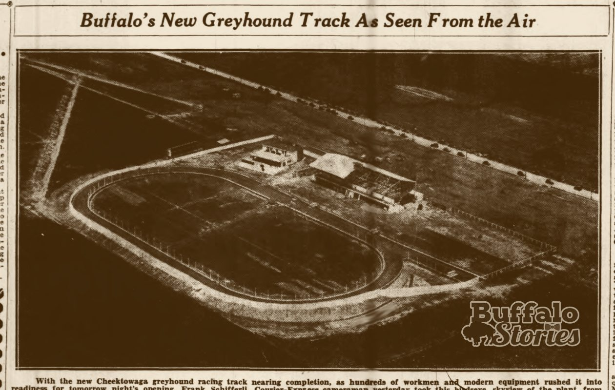 Cheektowaga's greyhound track at the corner of Maryvale and Harlem Roads, 1935. (Buffalo Stories archives)