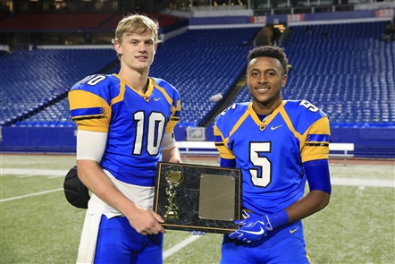 The Buffalo News is honoring the top scholastic athletes and teams as part of the Prep Talk Awards. The 2017-18 Male Athlete of the Year is being shared by Matt Myers and Juston Johnson, both from West Seneca West. On the football field, Myers set single-season school records for total touchdowns (46), passing touchdowns (24), rushing TDs (22), passing yards (2,397) and all-purpose yards (3,434). Johnson was Myers' favorite target on the football field but he excelled in basketball, averaging 24.8 points, 8.0 assists, 7.3 rebounds and 3.4 steals. He set a school record for points in a season (619).