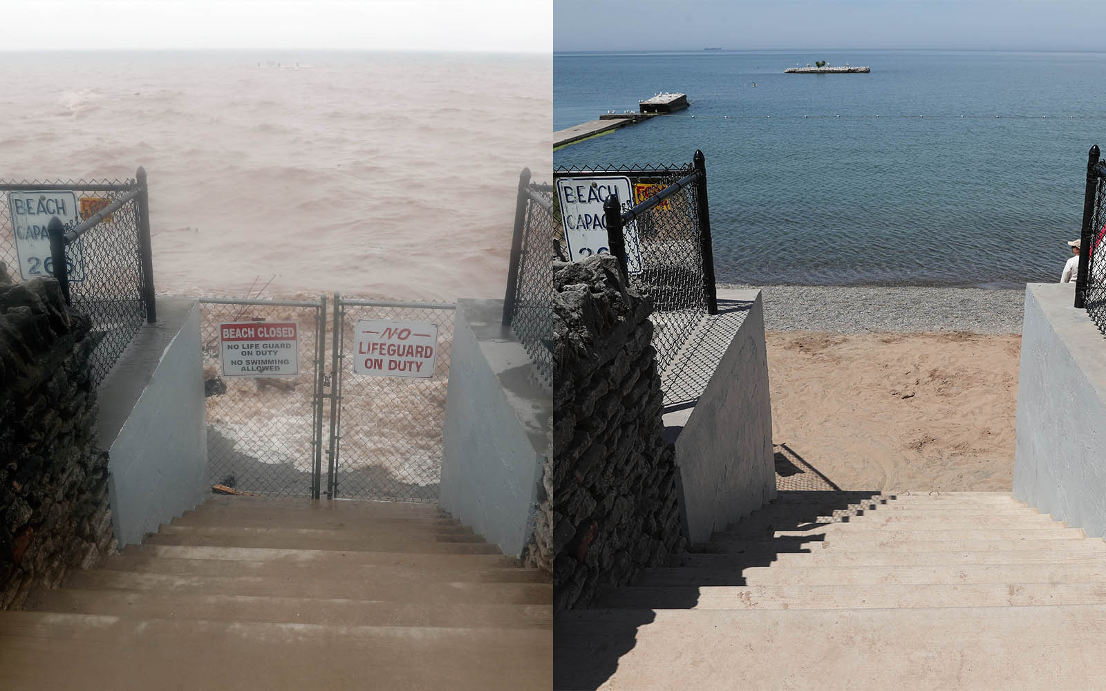 It's been a quiet spring along the shores of Lake Ontario, where the water level is nearly 2 feet lower than it was at this time last year, when flooding and erosion were the main issues. See the difference in photos taken in 2017 to the ones from 2018.