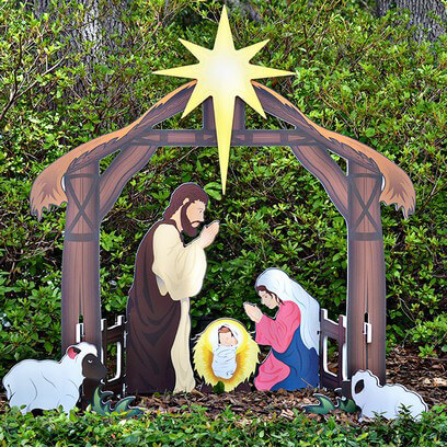 holy night printed outdoor nativity set - Teak Isle Christmas Decorations