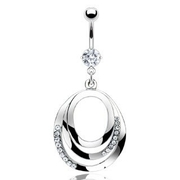 Large Nested Dangling Circle Belly Button Ring