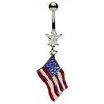Star Gem American Flag Dangle Belly Rings