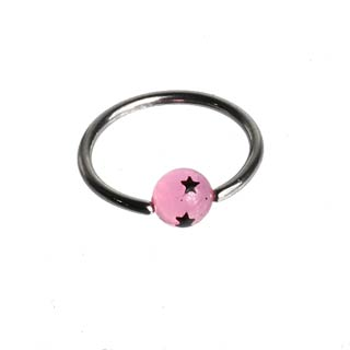 Pink Star Captive Bead Ring