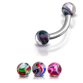 Multi Color Marble Eyebrow Ring