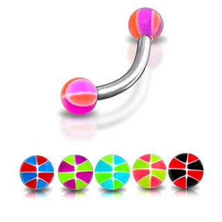 Multi Striped UV Eyebrow Ring