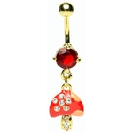 Mushroom Gem Belly Ring