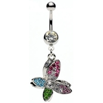 Multi Colored Butterfly Belly Ring