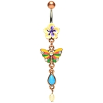 Vintage Flower and Butterfly Dangling Belly Ring