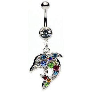 Rainbow Dolphin Belly Ring